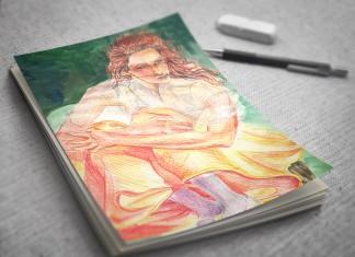 Orange dress watercolor illustration