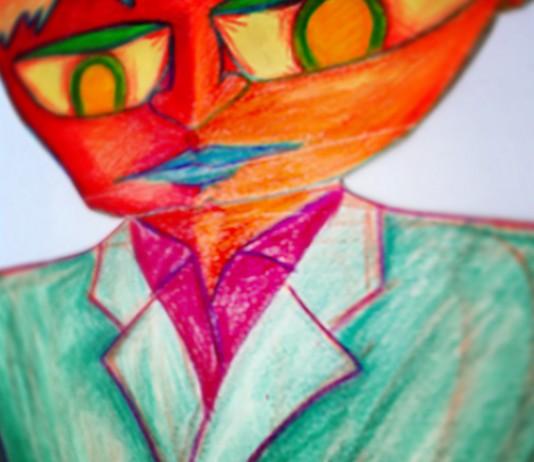 """Red"" pencil crayon drawing"