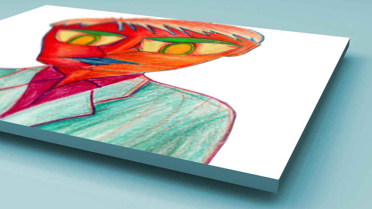 Red pencil crayon drawing close up mockup